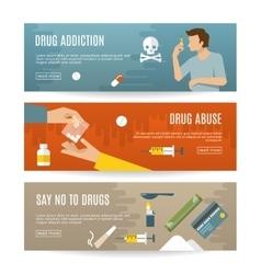 Flat Drugs Banner Set vector