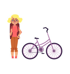 Flat girl tourist smiling bicycle vector