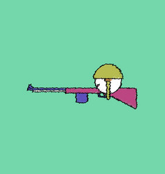 Flat shading style icon soldier with rifle aiming vector