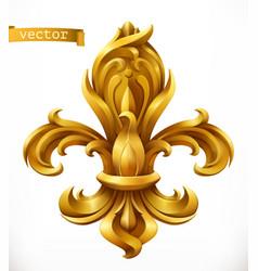 fleur-de-lis stylized lily gold emblem 3d icon vector image