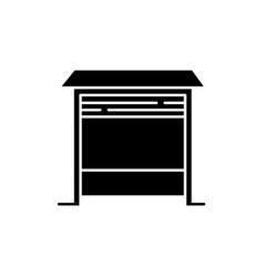 Garage black glyph icon vector