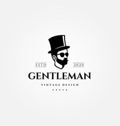 gentleman vintage logo man with hat design vector image