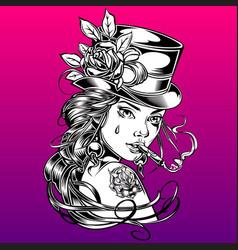 Girl hat rose retro smoke drawing vector