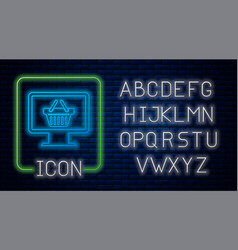 glowing neon computer monitor with shopping basket vector image