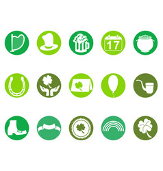 Green round st patricks day button icons set vector