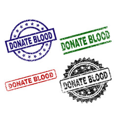 grunge textured donate blood seal stamps vector image