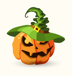 halloween pumpkin wearing green witch hat vector image