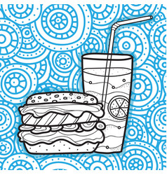 hamburger and lemonade doodle style fast food vector image