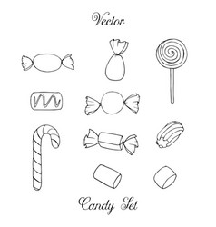 hand drawn candy marshmallow set isolated vector image