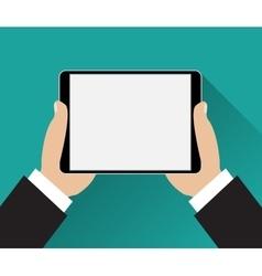 Hands holding black tablet computer vector image