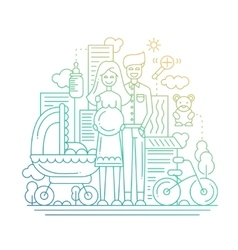 Happy family - line design vector