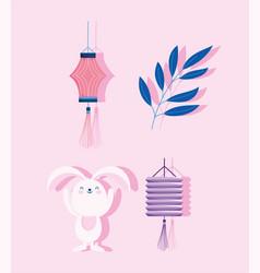 happy mid autumn festival rabbit lantern branch vector image