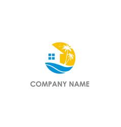 Home villa resort beach logo vector
