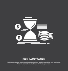 Hourglass management money time coins icon glyph vector
