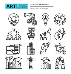 Icons set global business process and finance vector