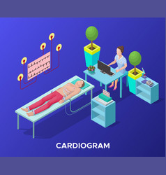 isometric cardiogram medical procedure template vector image