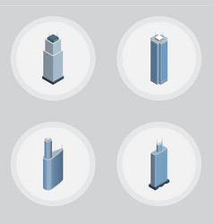 Isometric skyscraper set of building skyscraper vector