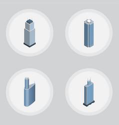 Isometric skyscraper set of building skyscraper vector
