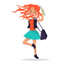 jumping redhead girl student with bag vector image