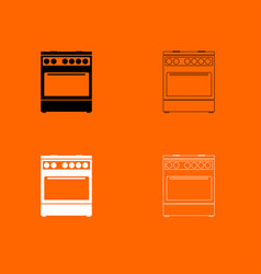Kitchen stove black and white set icon vector