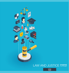 Law and justice integrated 3d web icons growth vector