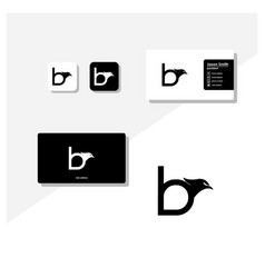 Letter b eagle head logo and business card vector