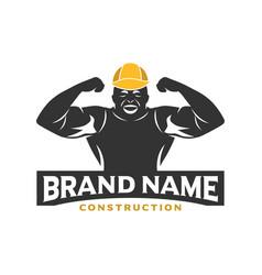Logo design construction workers vector