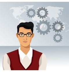 Man business office with glasses world gears vector