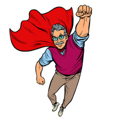 man retired superhero health and longevity of vector image