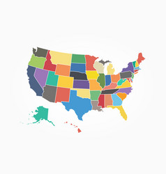 map of united state of america flat color design vector image