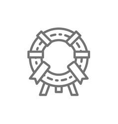 memorial wreath funeral ceremony line icon vector image