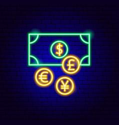 money exchange neon sign vector image