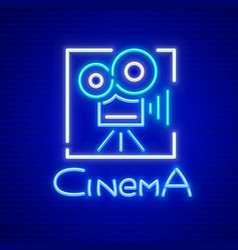 Neon sign for cinema vector