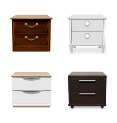 Nightstand icon set realistic style vector
