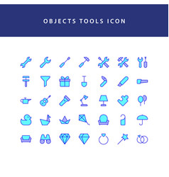 Object tool filled outline icon set vector