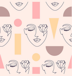 pattern with woman faces vector image