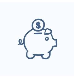 Piggy bank with dollar coin sketch icon vector