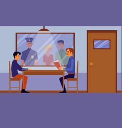 police interrogation room interior with cartoon vector image