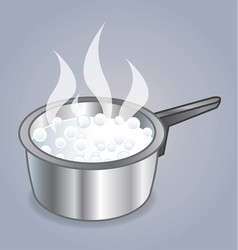 Pot with boiling water vector