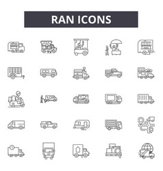 ran line icons signs set outline vector image