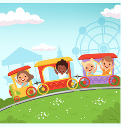 Roller coaster kids attraction children riding in vector