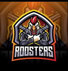 Rooster gunners esport mascot logo vector