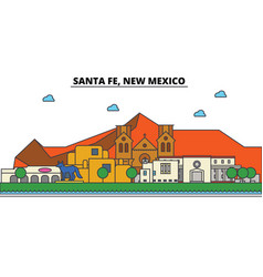 Santa fe new mexico city skyline architecture vector