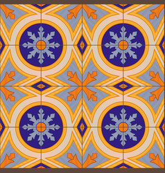 seamless pattern with portuguese tiles azulejo vector image
