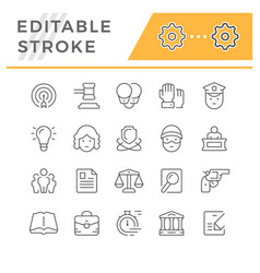 Set editable stroke line icons law vector