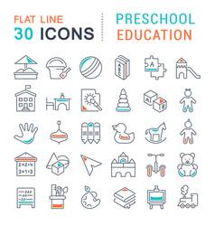 Set line icons preschool education vector