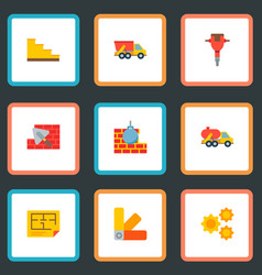 set of industry icons flat style symbols with dump vector image