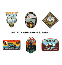 Set of retro wanderlust logos emblems vintage vector