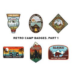 Set retro wanderlust logos emblems vintage vector