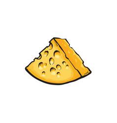 Sketch cartoon piece of porous cheese vector
